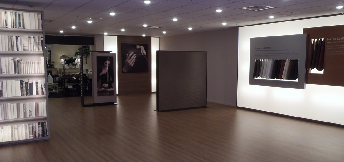 Showroom with displays, light box, and center of the room build outs.